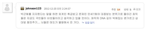 박근혜 지지자가 쓴 인터넷 댓글